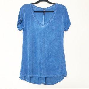Massini - Blue Burnout Style V-Neck T-Shirt